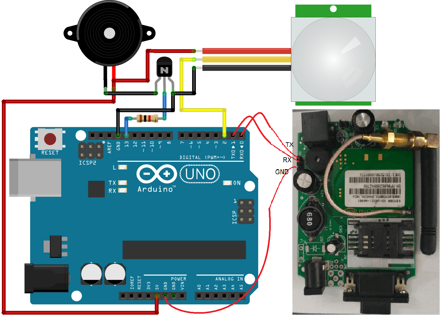 GSM Based Home Security System Project Using Arduino & PIR with SMS ...